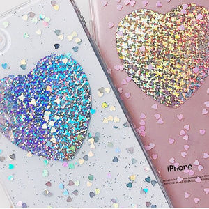 Accessories - Blue & Pink Iridescent Heart iPhone X Phone Case